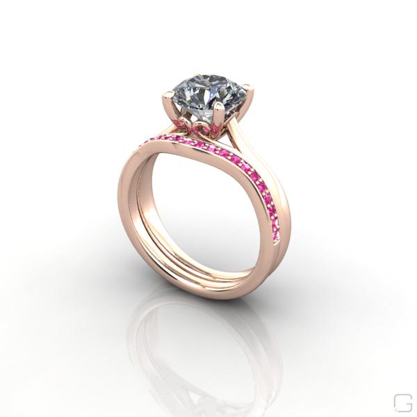 Sapphire Wedding Rings.Pav E Set Pink Sapphire Wedding Ring