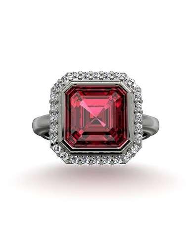 coloured stone engagement ring
